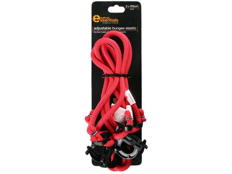 Halfords Essentials Adjustable Bungee Elastic 100cm x2