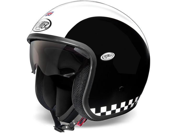 Premier Open Face Vintage Helmet Matt Black/White