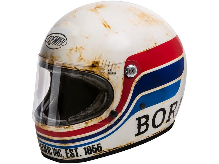 Premier Trophy Vintage Helmet Matt White/Black/Red