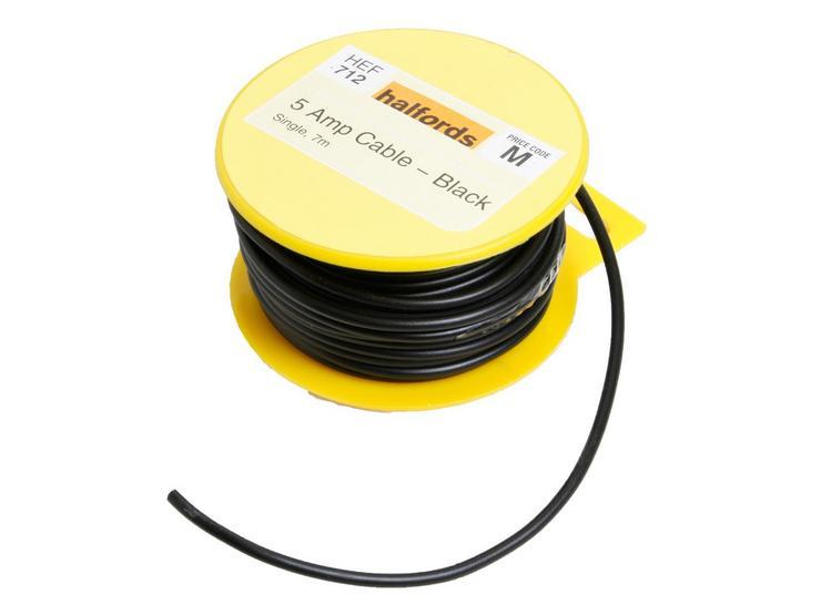 Halfords 5 Amp Cable Black HEF712