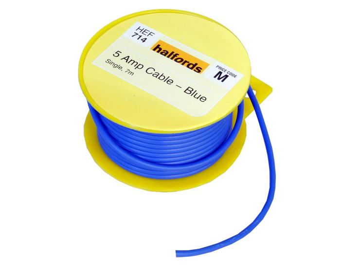 Halfords 5 Amp Cable Blue HEF714