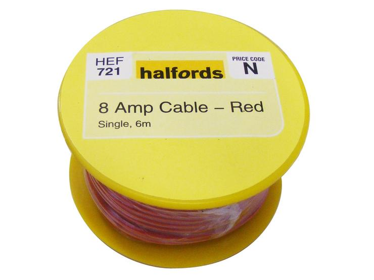Halfords 8 Amp Cable Red HEF721