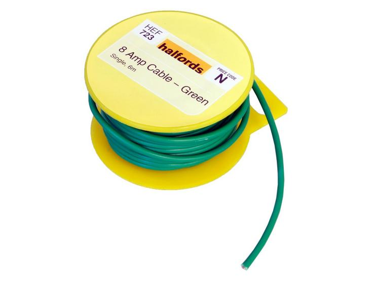Halfords 8 Amp Cable Green HEF723