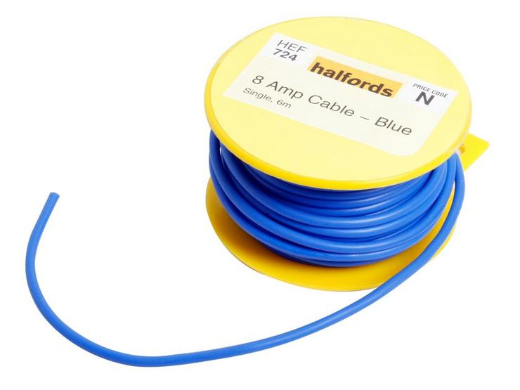 Halfords 8 Amp Cable Blue HEF724
