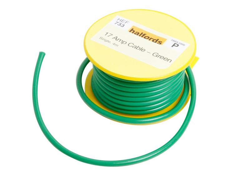 Halfords 17 Amp Cable Green HEF733