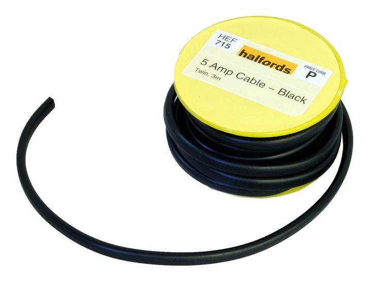 Halfords 5 Amp Twin Cable Black HEF715
