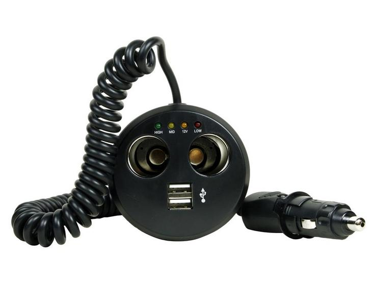 Halfords Two Way Multisocket Cupholder with twin USB