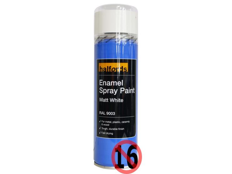 Halfords Enamel Spray Paint Matt White 300ml