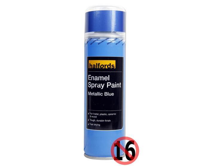 Halfords Enamel Spray Paint Metallic Blue 300ml