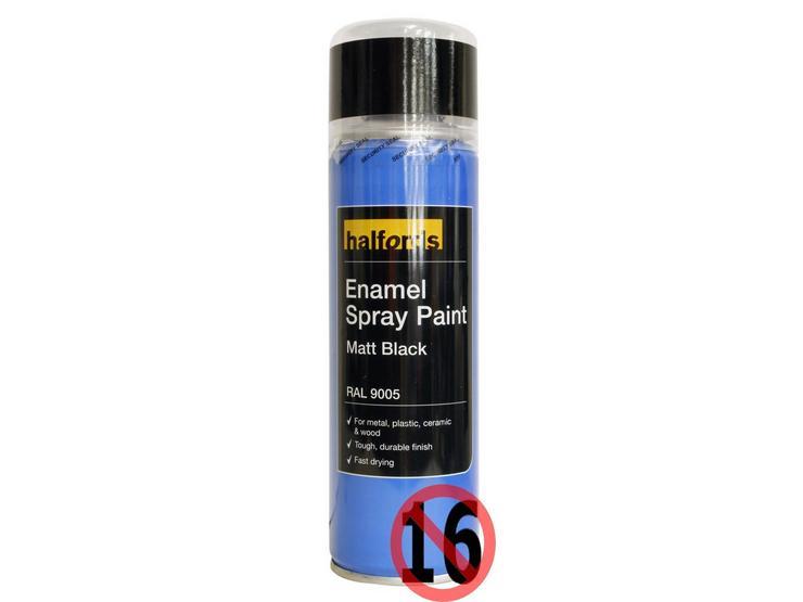 Halfords Enamel Spray Paint Matt Black 300ml