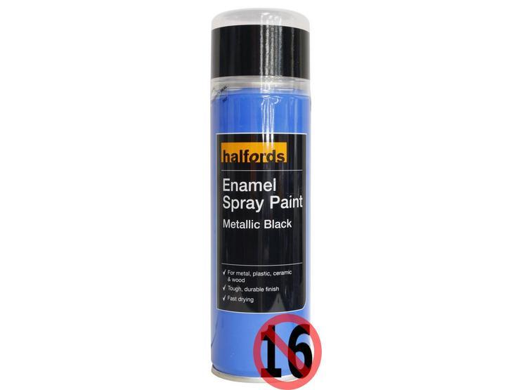 Halfords Enamel Spray Paint Metallic Black 300ml
