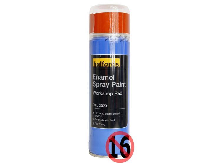 Halfords Enamel Spray Paint Workshop Red 300ml