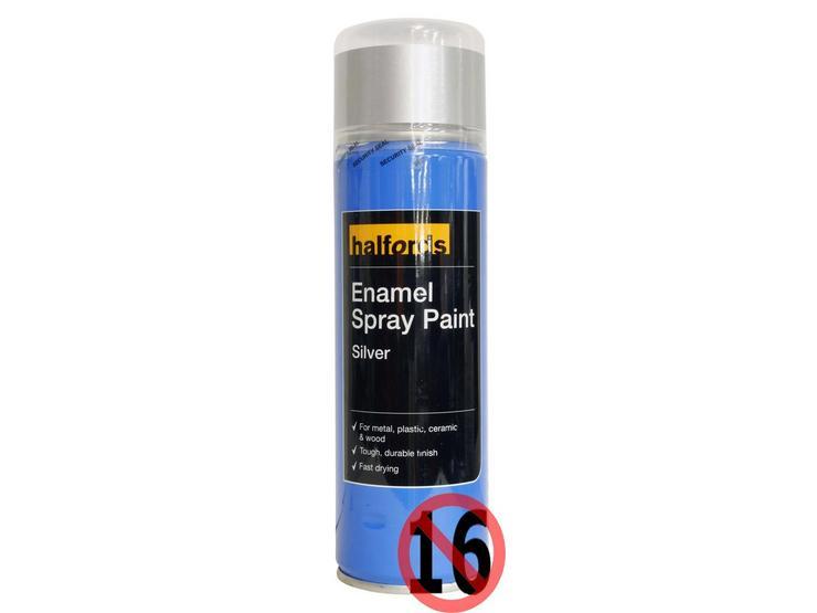 Halfords Enamel Spray Paint Silver 300ml