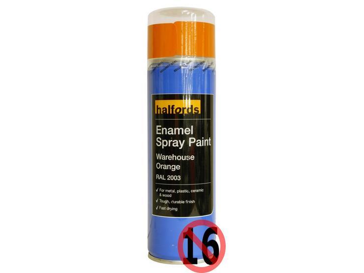Halfords Enamel Spray Paint Warehouse Orange 300ml
