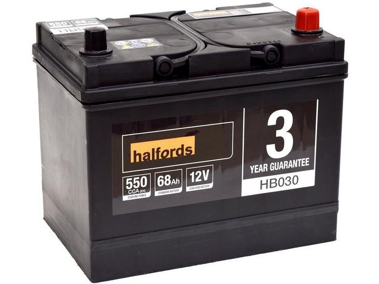 Halfords HB030 Lead Acid 12V Car Battery 3 Year Guarantee