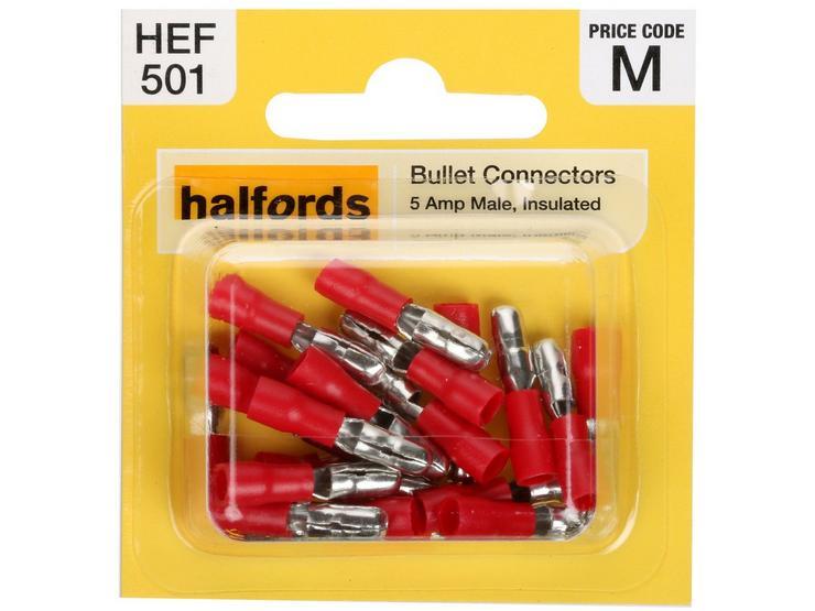 Halfords Bullet Connectors (HEF501) 5 Amp/Male