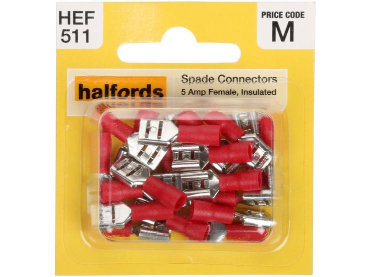 Halfords Spade Connectors (HEF511) 5 Amp/Female