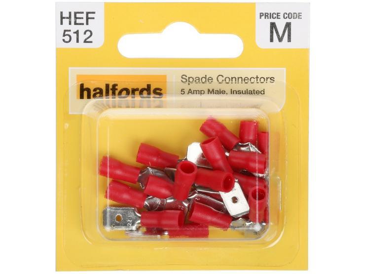 Halfords Spade Connectors (HEF512) 5 Amp/Male