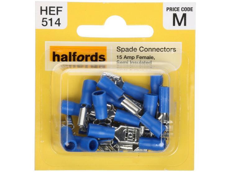 Halfords Spade Connectors (HEF514) 15 Amp/Female