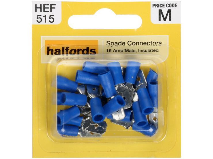 Halfords Spade Connectors (HEF515) 15 Amp/Male