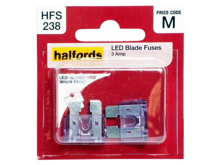 Halfords LED Blade Fuses 3 Amp (HFS238)
