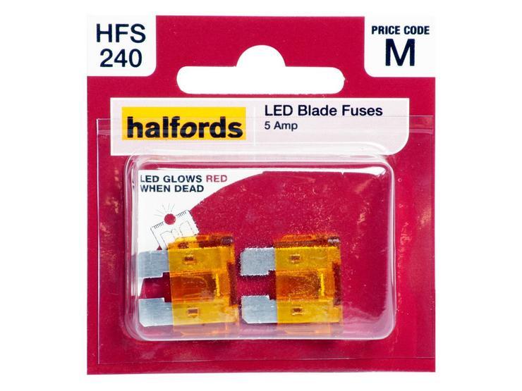 Halfords LED Blade Fuses 5 Amp (HFS240)