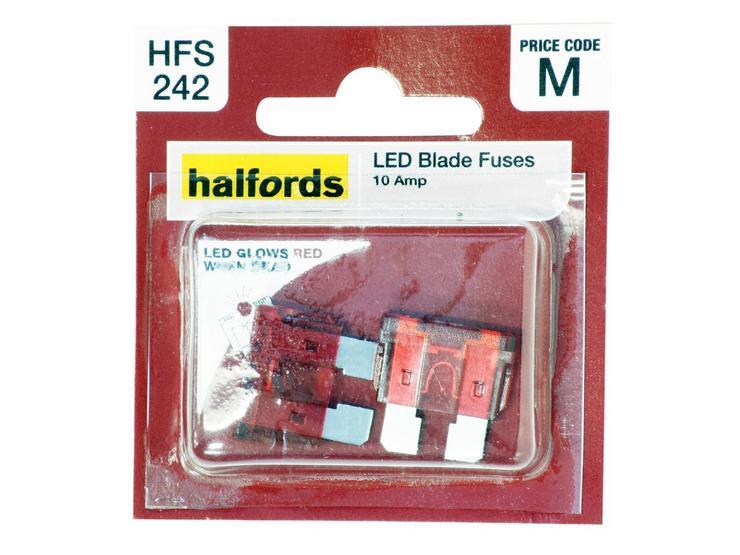Halfords LED Blade Fuses 10 Amp (HFS242)