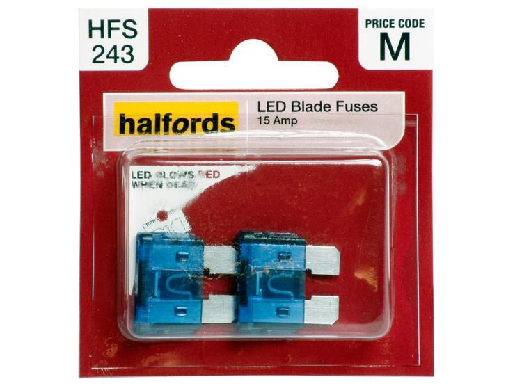 Halfords LED Blade Fuses 15 Amp (HFS243)