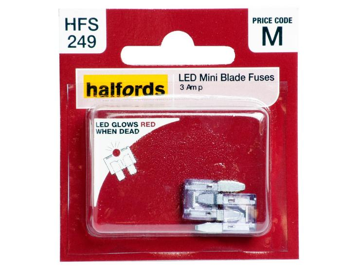 Halfords LED Mini Blade Fuses 3 Amp (HFS249)