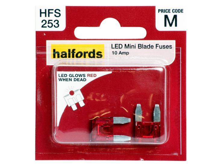 Halfords LED Mini Blade Fuses 10 AMP (HFS253)
