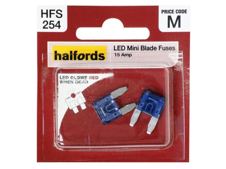 Halfords LED Mini Blade Fuses 15 Amp