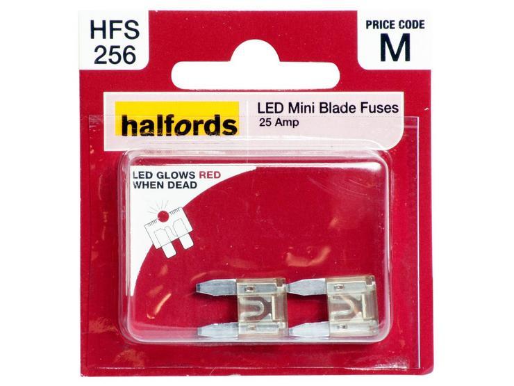 Halfords LED Mini Blade Fuses 25 Amp (HFS256)