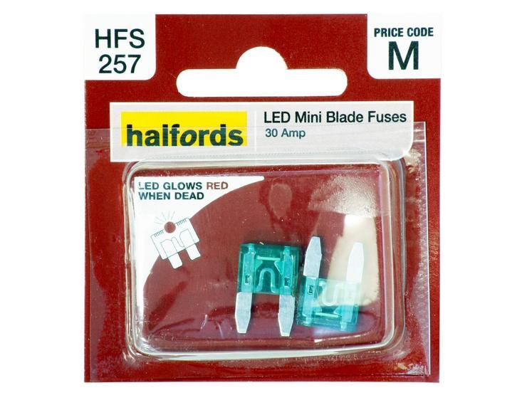 Halfords LED Mini Blade Fuses 30 Amp (HFS257)