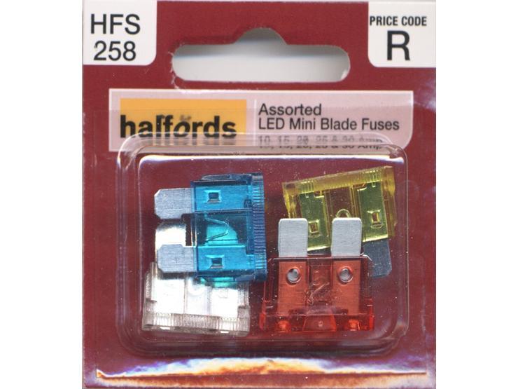 Halfords Assorted LED Mini Blade Fuses 10/15/20/25/30 Amp (HFS258)