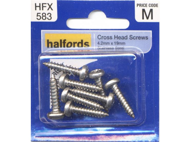 Halfords Cross Head Screws 4.2mmx19mm