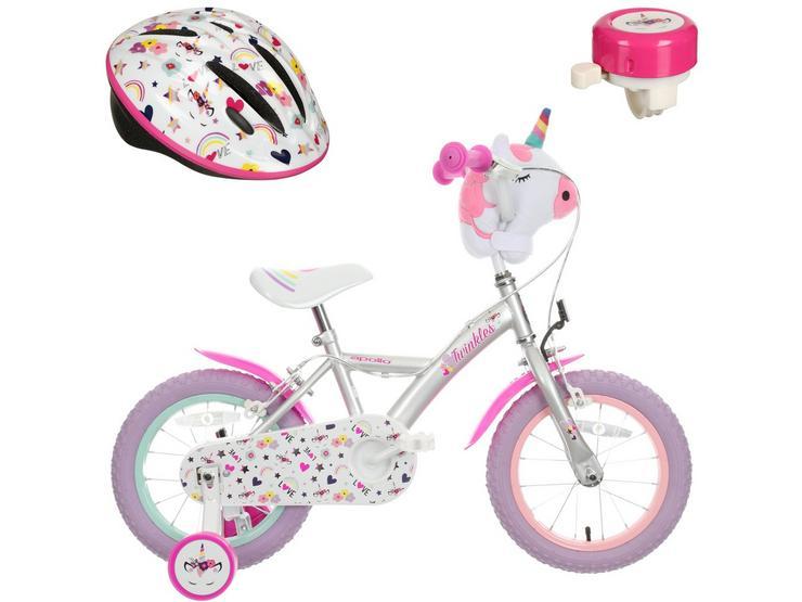 """Apollo Twinkles Unicorn 14"""" Bike Bundle"""