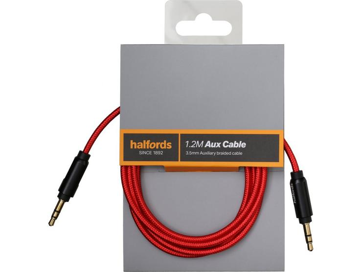 Halfords 1.2M Aux Cable Black/Red