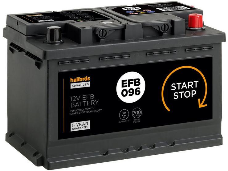 Halfords EFB096 Start Stop Car Battery 5 Year Guarantee
