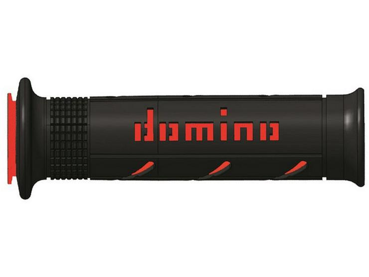 Domino XM2 Open End Motorcycle Grips - Black/Red