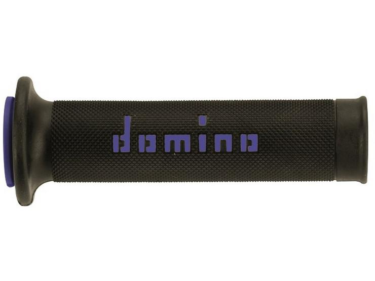 Domino RR Open End Motorcycle Grips - Black/Blue