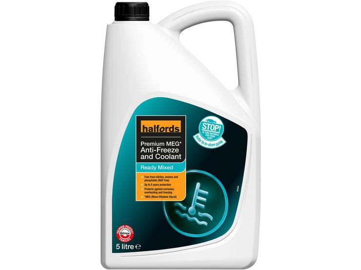 Halfords NAP-Free Hybrid Anti-Freeze and Coolant Ready Mixed - 5L