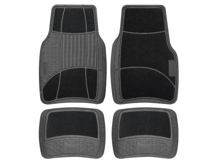 Michelin Carpet & Rubber 4 Piece Car Mat Set Black