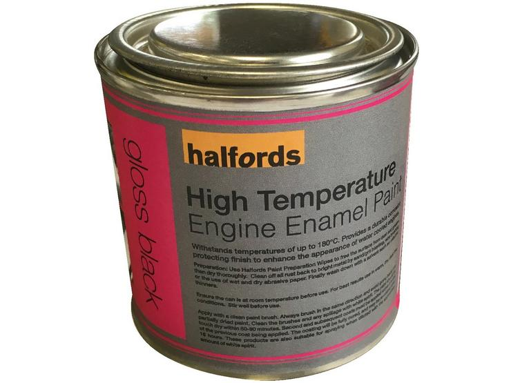 Halfords High Temperature Engine Enamel Paint - Gloss Black 250ml