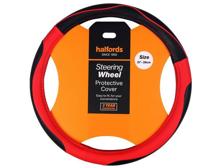 Halfords Black / Red steering wheel cover