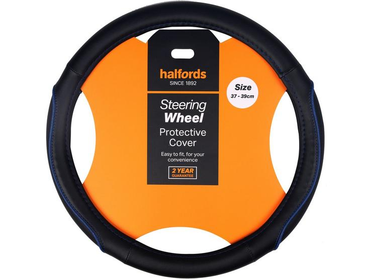 Halfords Black with Blue edging Steering wheel cover