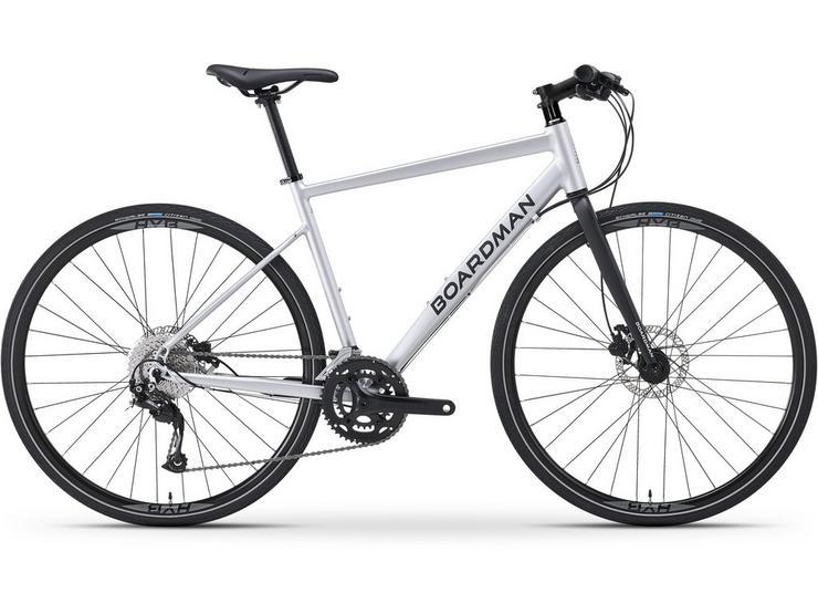 Boardman HYB 8.6 Mens Hybrid Bike 2021 - Silver - S, M, L Frames