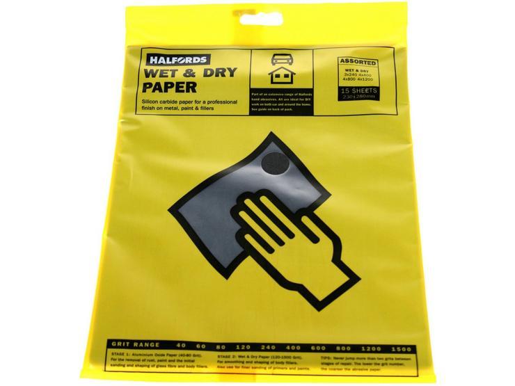 Halfords Wet & Dry Sanding Paper 15 Assorted Sheets