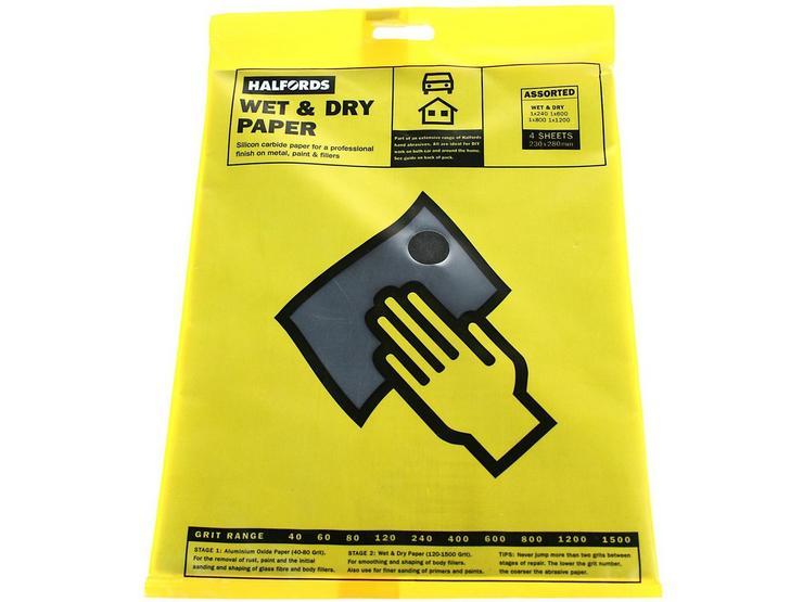 Halfords Wet & Dry Sanding Paper 4 Assorted Sheets