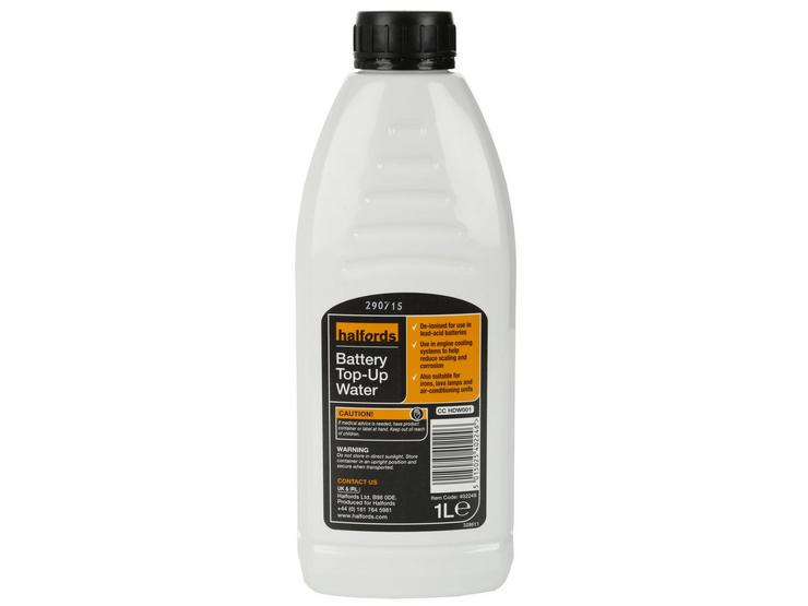 Halfords Battery Top-Up Water 1L