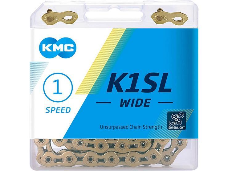 KMC K1SL Wide Bike Chain, Ti-N Gold 100L